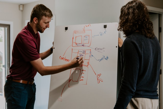 Man designing website on a whiteboard with a marker.